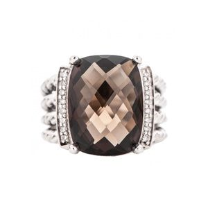 David Yurman Smoky Quartz & Diamonds Wheaton Ring
